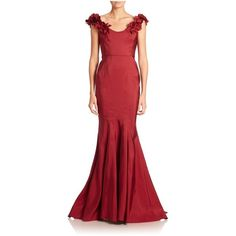 Marchesa Off-The-Shoulder Fishtail Gown ($4,995) ❤ liked on Polyvore featuring dresses, gowns, burgundy, gown, satin gown, red dress, red off the shoulder dress, off the shoulder dress and burgundy evening gown