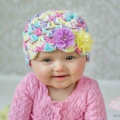 Pink purple aqua yellow spring crochet hat / by beanbugcreations | Mad Mad Makers | https://www.etsy.com/listing/182540003/pink-purple-aqua-yellow-spring-crochet?ref=shop_home_active_6