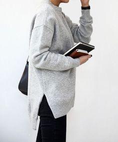 sweater sweatshirt girl tumblr notebook tumblr outfit minimalist grey sweater