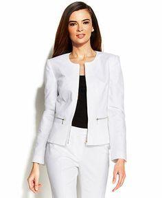 Calvin Klein Collarless Zip-Front Jacket - All Suits & Suit Separates - Women -