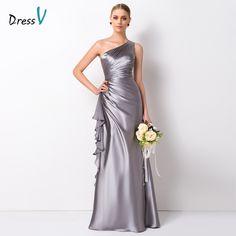 Dressv Elegante de Un Hombro a Largo Vestidos de Dama de Longitud del Piso Una Línea de Volantes de Satén Elástico vestido de Fiesta Vestido de Fiesta de La Boda Vestido de Fiesta