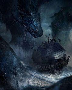 "fantasy-art-engine: "" A Beast in the Storm by Juan Pablo Roldan """