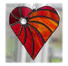 Swirled Heart Stained Glass Suncatcher £15.00