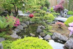Oosterse/japanse tuin met robuuste vijver.
