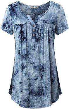 online shopping for Finice Women's Notch Neck Short Sleeve Tie-dye Tunic Shirt from top store. See new offer for Finice Women's Notch Neck Short Sleeve Tie-dye Tunic Shirt Tunic Shirt, Tunic Tops, Flowy Tops, Cut Up Shirts, Band Shirts, Printed Shirts, Pull Gris, Loose Fitting Tops, Casual Summer Outfits