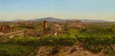 Friedrich Loos, Panorama von Rom (V von V), Blick auf S. Giovanni in Laterano, 1850, Öl auf Leinwand