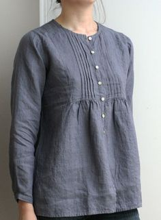 linen blouse- pin tucks down to bottom of chest, buttons down the front...use for refashioned - blouses, long sleeve, sheer, jeans, blue, fall blouse *ad
