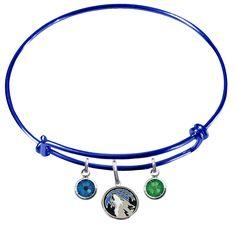 Minnesota Timberwolves NBA Color Expandable Wire Bangle Charm Bracelet – SportsJewelryProShop