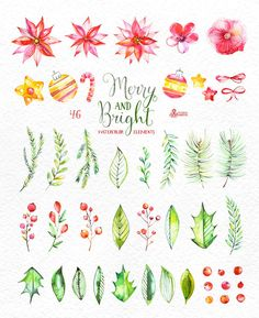 This set of 46 high quality hand painted watercolor floral Elements(flowers, leaves, berry, bows, fir-tree, stars, Christmas decorations). Perfect graphic for Christmas invitations, greeting cards, photos, posters, quotes and more.  -----------------------------------------------------------------  INSTANT DOWNLOAD Once payment is cleared, you can download your files directly from your Etsy account.  -----------------------------------------------------------------  This listing includes…