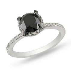 2 CT. T.W. Enhanced Black and White Diamond Solitaire Ring in 10K White Gold - View All Rings - Zales