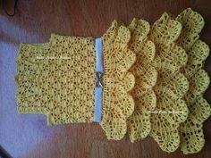 Vestido infantil feito em crochê com saia de babados Parte 1 -  /  Children dress made in crochet frilly skirt Part 1 -