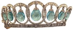 AQUAMARINE TIARA OF QUEEN EUGENIE OF SPAIN