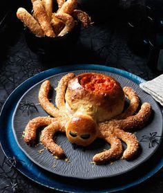I love Halloween! It's just a good, old-fashioned fun kids holiday and I always look forward to it. I wanted to share with you some of my favorite recipes that I've come across lately. I can't wait to try these! Saucy Spider with Hair Leg Breadsticks! Isn't this ADORABLE?!