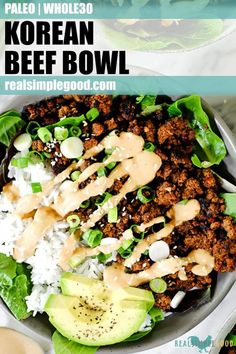 This Paleo   Whole30 Korean beef bowl is ready in under 30 minutes and is a family-friendly meal! It's gluten-free, dairy-free, and makes great leftovers! | realsimplegood.com #paleo #whole30 #keto #groundbeef