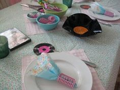 """Creative Party Ideas """"Grease Party"""" check out the hair rollers  used as napkin rings"""
