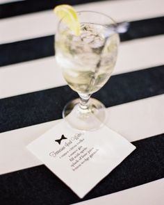 Cocktail napkins printed with the signature drink's recipe