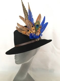 ARABELLA -Ladies Black Wool Felt Trilby with Pheasant Feather Trim -  Perfect for Cheltenham Races 2765a03a625b