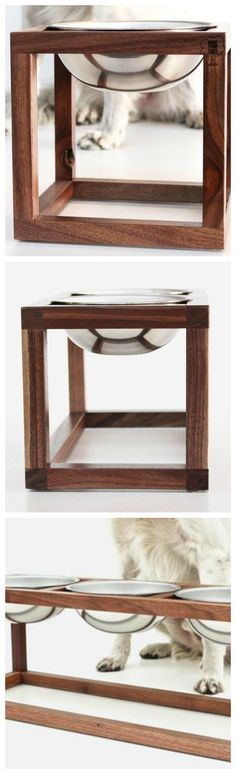Crafted from black walnut in a minimal open design, these dog bowl holders feature 1, 2 or 3 stainless steel bowls floating in a wood frame.