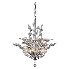 Illuminate your dining room or foyer in chic style with this elegant chandelier, showcasing a nature-inspired silhouette and crystal accents.  ...
