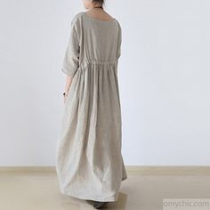 2017 autumn plus size linen dresses asymmetric bracelet sleeved drawstring maxi dress 2017 herbst pl Abaya Fashion, Muslim Fashion, Modest Fashion, Gothic Fashion, Plus Size Dressing Gowns, Plus Size Dresses, Fall Dresses, Casual Dresses, Loose Dresses