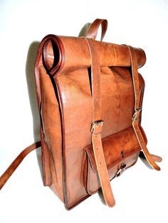 Leather Roll on Backpack / Rucksack Vintage Retro Looking Bag Vegetable tanned #Handmade #Backpack