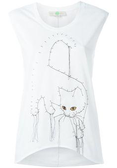 stella mc cartney embroidered cat tank top White