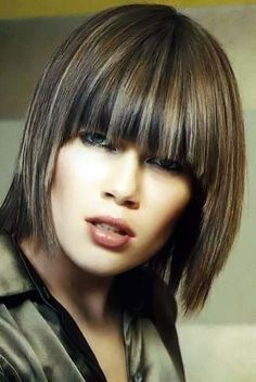 Medium length hairstyle with bangs
