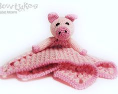 Schweinchen Lovey CROCHET PATTERN sofortiges Download - Schwein Blankey, Blankie, Sicherheits-Decke