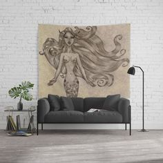 Mermaid sketch made to resemble a vintage piece of art. Wall art for your marine inspired home decor. Pencil art you can find in other products. Your purchase helps us towards our flower farm project.
