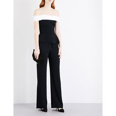 Roland Mouret Danielson off-the-shoulder woven jumpsuit ($1,625) ❤ liked on Polyvore featuring jumpsuits, holiday jumpsuits, white tailored jumpsuit, patterned jumpsuit, zipper jumpsuit and white peplum jumpsuit