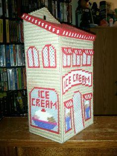 Ice Cream Shop Plastic Bag Holder Plastic Canvas Coasters, Plastic Canvas Ornaments, Plastic Canvas Crafts, Plastic Canvas Patterns, Grocery Bag Holder, Plastic Bag Holders, Bag Hanger, Canvas 5, Tissue Boxes