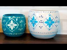 Vasos pintados à mão com desenho de ladrilho português! - YouTube