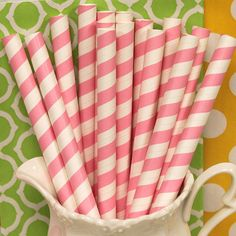 Milk Shake Paper Straws, 25 Strawberry Pink Striped MILK SHAKE STRAWS,  Big, Thick, Round Milk Shake / Smoothie Straws with Diy flags,