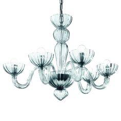 mimo - murano glas 6 leuchten kronleuchter