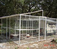 Free plans and pictures of PVC pipe projects including a chicken pen that would be perfect