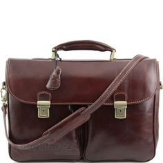 Tuscany Leather Pienza - Leather briefcase with two front pockets Brown by Tuscany Leather Price: Sale: FREE UK delivery. You Save: Leather Laptop Bag, Leather Briefcase, Leather Backpack, Leather Bags, Business Briefcase, Shops, Looks Vintage, Cool Things To Buy, Stuff To Buy