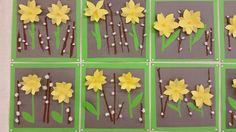 """Narsissit"" 1.lk (Alakoulun aarreaitta FB -sivustosta / Anu Kemppainen) Easter Arts And Crafts, Fun Crafts For Kids, Summer Crafts, Art For Kids, Spring Art Projects, School Art Projects, Kindergarten Crafts, Preschool Art, Flower Crafts"