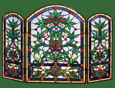 stained glass fireplace screens | STAINED GLASS ~ FirePlace Screens, FireScreens, | StainedGlassSpark ...