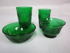 Crystal Wedding Oats and Forest Green glassware set-ALL 5 PIECES #7112 Fostoria Crystal, Vintage Dishes, Crystal Wedding, Vintage Stuff, Depression, Oatmeal, Pottery, Memories, Marketing