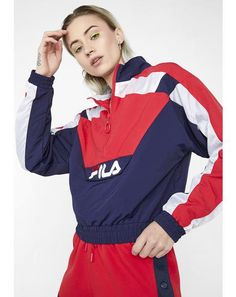 05f0549bd Berry Conchita Half Zip Wind Jacket Fila Outfit, Wind Jacket, For Love And  Lemons