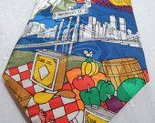 LAST CHANCE: NYC necktie / designer mens tie / Italian food / Brooklyn bridge / Statue of Liberty / East side Mario / red blue / mens tie