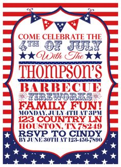 Great 4th Of July Party Invitations 4thofjuly Invite