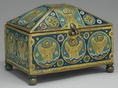 Chrismatory, ca. 1200–1220  Limoges  Copper: engraved, chased, and gilt; champlevé enamel: lapis and lavender blue, turquoise, light and dark green, red, and white
