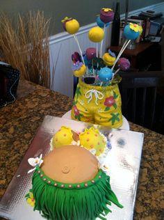 Hawaiin Baby Shower cake & pops