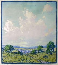 Clearing, woodblock print by Frances Gearhart, 1869-1958, American artist