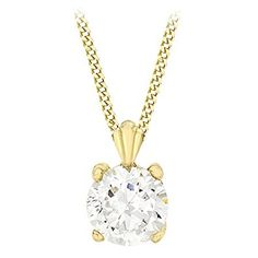 Carissima Gold 9 ct Yellow Gold Cubic Zirconia Round on Adjustable Curb Chain Necklace