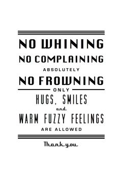 Black and White Print No Whining No Complaining by LadybugGraphics, $24.00