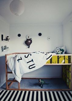 Blk/white kid's room w ikea kura bed. Kura Bed, Kids Bed Frames, White Kids Room, Ikea Nursery, Nursery Decals, Cat Decals, Deco Kids, Kids Bunk Beds, Kids Room Design