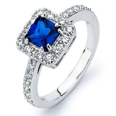 Oliveti Sterling Silver Princess-cut Blue Cubic Zirconia Engagement-style Ring (Size 5), Women's, White