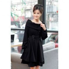 $16.91 Stylish Loose Fitting Boat Neck Solid Color Layered Hem Dress with Belt for Women
